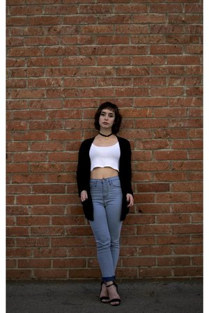 black slouchy Forever 21 cardigan - sky blue high waisted asos jeans