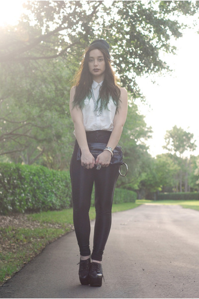 black disco pants American Apparel pants - white H&M blouse