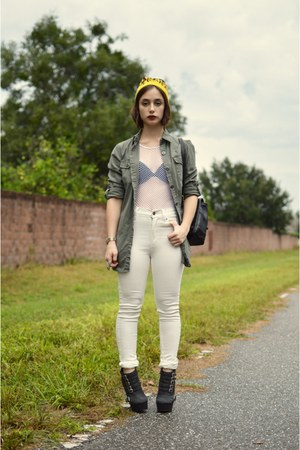 white netted We Love Colors top - white Cheap Monday jeans