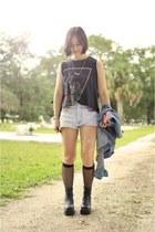 black vintage boots - sky blue cut-offs denim vintage jeans