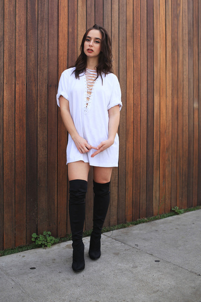 black thigh high UrbanOG boots - white Emma & Sam top
