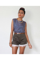 olive green lace trimmed Red Mera Vintage shorts - blue silk vintage top