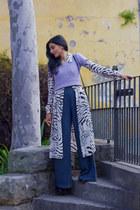 light pink vintage dress - periwinkle vintage top - gray vintage pants