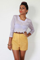 mustard linen Red Mera Vintage shorts - light purple vintage top
