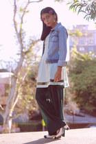 off white Vince Camuto pumps - light blue asos dress - light blue vintage jacket