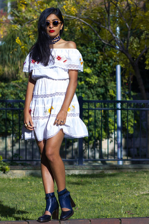 black beau coops boots - white vintage dress