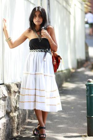 black Jeffrey Campbell shoes - black vintage top - white mexican vintage skirt