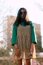 cream vintage dress - brown asos sunglasses - teal asos jumper