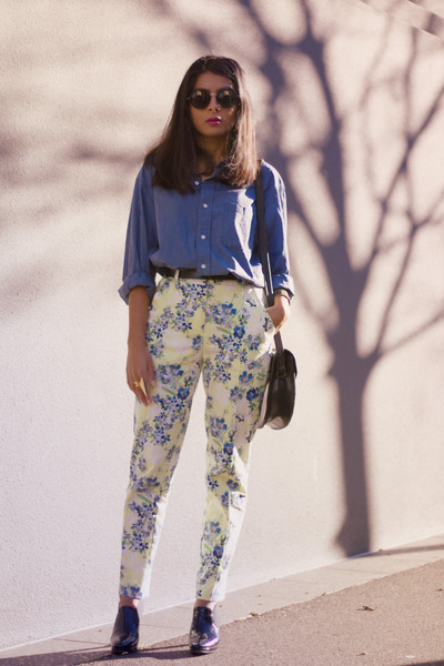 light yellow asos pants - blue vintage shirt