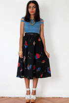 black Red Mera Vintage skirt - sky blue bec & bridge dress