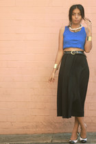 blue Forever 21 top - black Hugo Boss skirt - off white Tabio heels