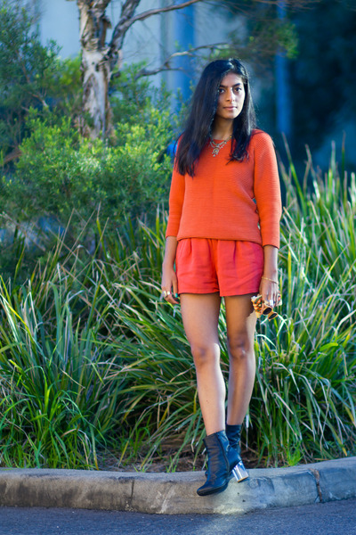 carrot orange vintage shorts - carrot orange asos jumper