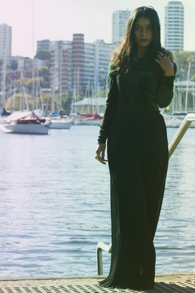 black asos pants - dark green alaia dress