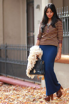 dark brown Jeffrey Campbell boots - navy vintage bag - beige vintage cardigan -