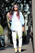 sky blue denim vintage shirt - light orange asos socks - crochet vintage top - e