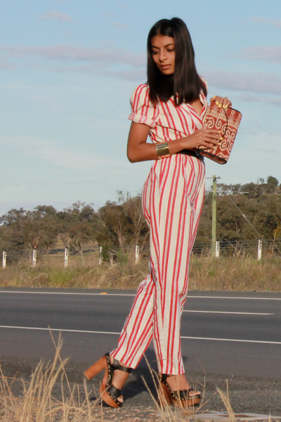 red vintage romper - black Jeffrey Campbell heels
