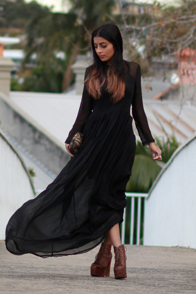 dark brown Jeffrey Campbell boots - Antipodium dress