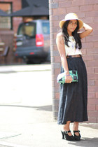 black suede vintage shoes - aquamarine vintage bag - black vintage skirt - cream