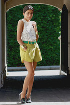 chartreuse vintage shorts - white vintage top - navy asos pumps