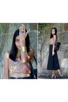 black vintage skirt - nude diy scarf top vintage top - black asos heels