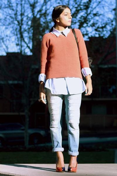 orange asos jumper - light blue Twenty8Twelve jeans - periwinkle vintage shirt