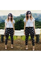 black tartan Zara pants - heather gray crop top Forever 21 shirt