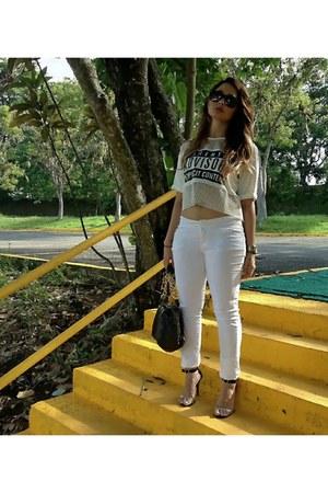black Aldo bag - ivory inspiration Zara pants - white chic asos t-shirt