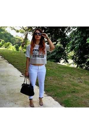white street style Zara pants - black fashion Aldo bag