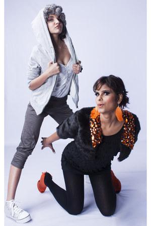 grey fur random hoodie - black random brand dress - friends design jacket