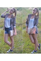 heather gray H&M jacket - navy New Yorker shorts - white H&M top