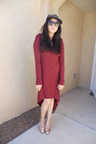 black Body Central hat - maroon Forever 21 dress - peach Marshalls heels