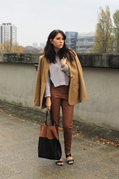 brown H&M leggings - camel Topshop blazer - black H&M bag - H&M jumper