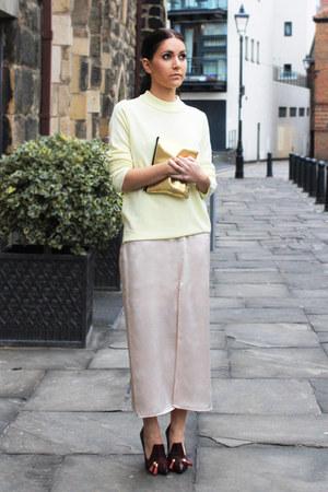 crimson Kurt Geiger heels - eggshell Topshop dress - light yellow M&S jumper