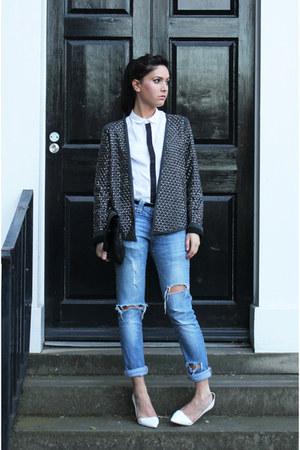 silver studded Zara blazer - blue ripped H&M jeans - white mens H&M shirt