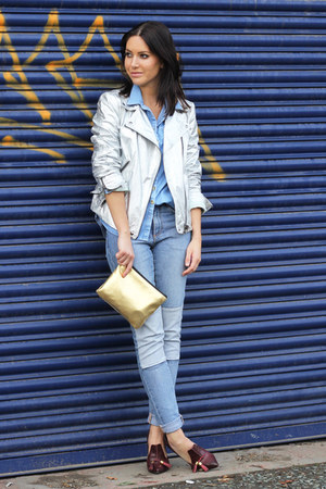 gold metallic H&M bag - patchwork H&M jeans - silver metallic Zara jacket