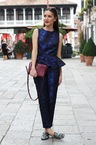 crimson Celine bag - navy H&M Trend pants - navy peplum H&M Trend top
