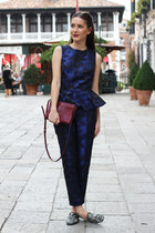 crimson Celine bag - navy H&M Trend pants - navy peplum H&M Trend top