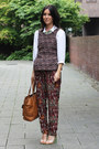 Printed-zara-pants-white-h-m-shirt-camel-marc-by-marc-jacobs-bag