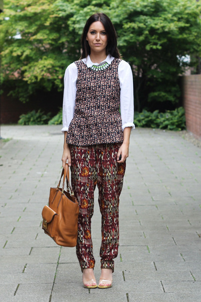 crimson printed peplum Zara blouse - white H&M shirt