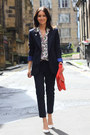 Bubble-gum-paisley-asos-blouse-navy-zara-blazer-red-clutch-zara-bag