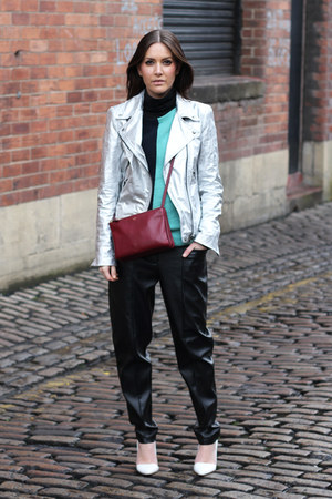 silver biker Zara jacket - crimson trio Celine bag