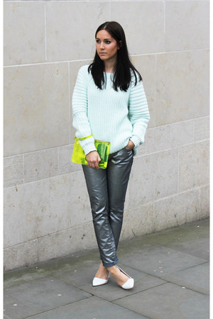 aquamarine H&M jumper - yellow Kurt Geiger bag - silver Zara pants - Zara heels
