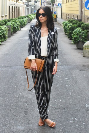 navy striped River Island suit - camel Zara bag - rayban sunglasses - Zara heels