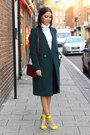 Forest-green-double-breasted-h-m-trend-coat-crimson-trio-celine-bag