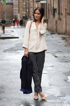 navy striped River Island pants - Zara blazer
