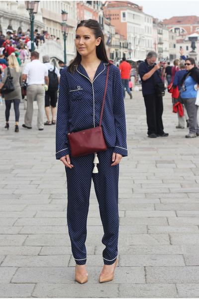 navy pyjama River Island suit - crimson trio Celine bag - camel Zara heels