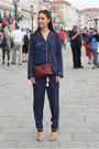 Navy-pyjama-river-island-suit-crimson-trio-celine-bag-camel-zara-heels