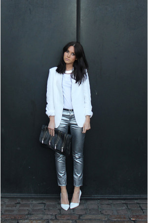 Zara blazer - metallic Zara jeans - Topshop bag - Topshop necklace - H&amp;M t-shirt