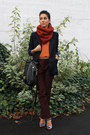 Navy-zara-blazer-burnt-orange-h-m-scarf-black-mulberry-bag