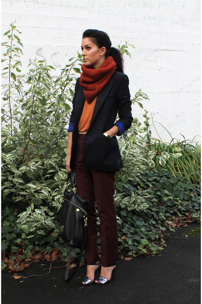 navy Zara blazer - burnt orange H&M scarf - black Mulberry bag
